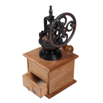 Coffee mill with side grinder, drawer open.
