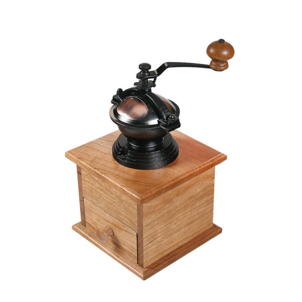 Coffee mill with top grinder, drawer closed.