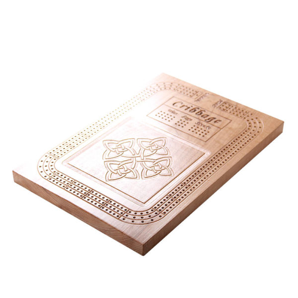 Cribbage board with celtic knot design.
