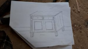 sketch of Quebec pine cupboard reproduction