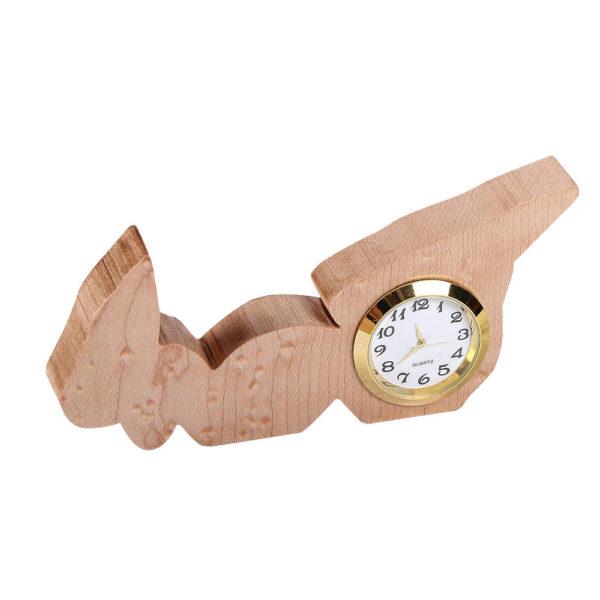 Small sized analog clock in the shape of PEI, birdseye maple wood.