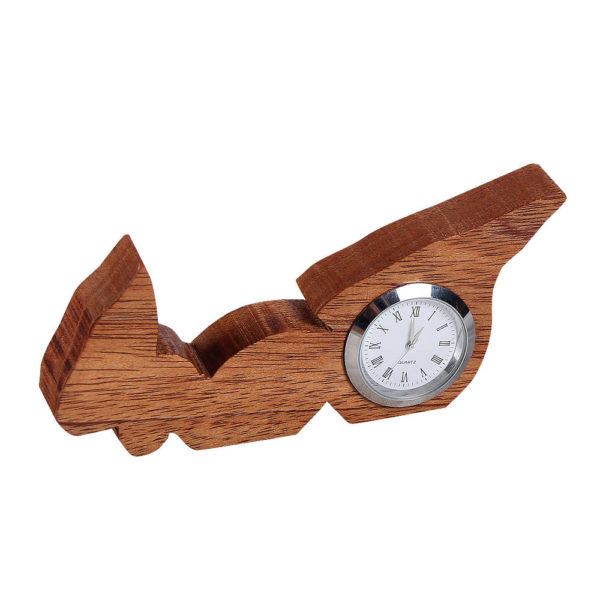 Small sized analog clock in the shape of PEI, mahogany wood.