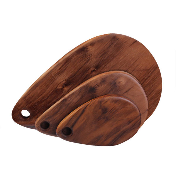 Family of raindrop cutting boards, small, medium, large, in Walnut.