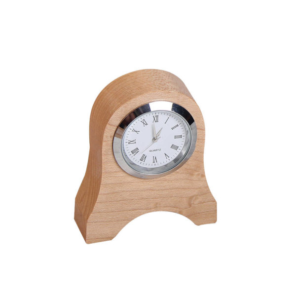 Analog wooden clock, petit mantle design.