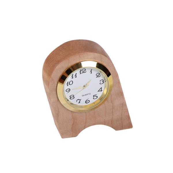 Wooden analog clock, wonky shaped.
