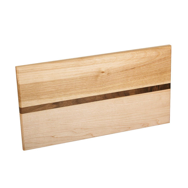"cheese board with various woods. size: 11.75"" long x 7"" wide x 0.75"" thick"