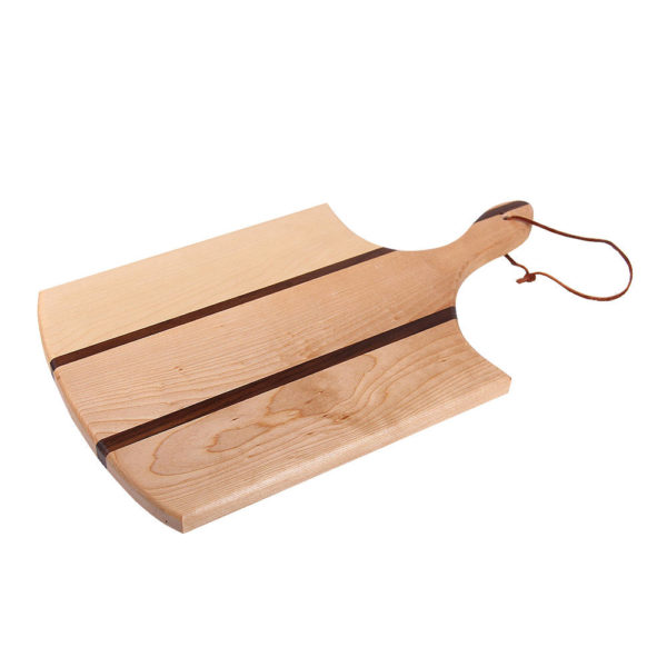 "cutting board circle design with various woods. size: 16.25"" long x 9.5"" wide x 0.75"" thick"