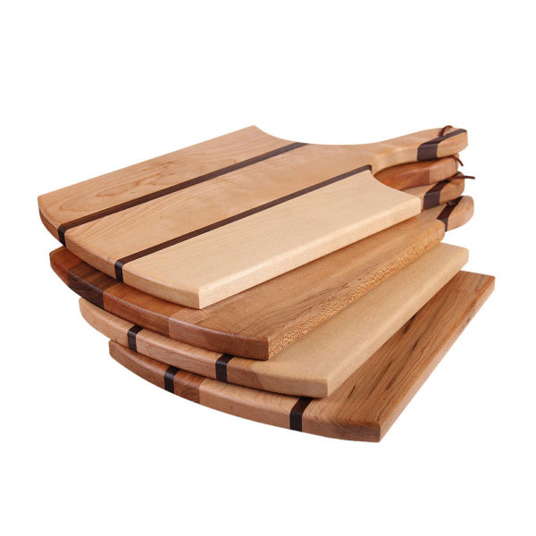 "stack of cutting boards circle design with various woods. size: 16.25"" long x 9.5"" wide x 0.75"" thick"