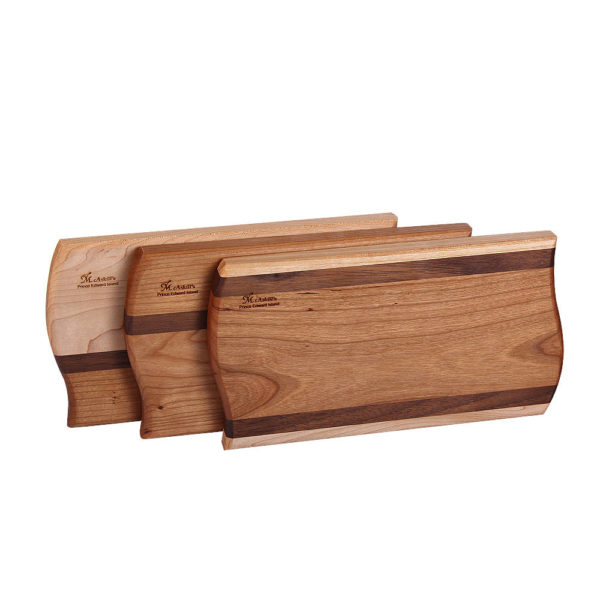 "stack of cutting board curves design with various woods. size: 9"" long x 5"" wide x 0.75"" thick"