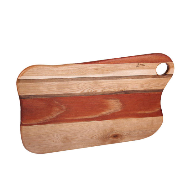 "cutting board freeform design with various woods. size: 16.25"" long x 9.5"" wide x 0.75"" thick"
