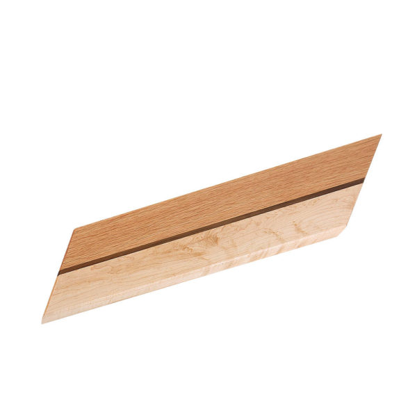 """cutting board leaning design with various woods. size: 12.5"""" long x 5.25"""" wide x 0.75"""" thick"""