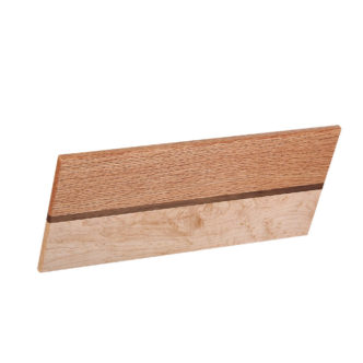 "cutting board leaning design with various woods. size: 12.5"" long x 5.25"" wide x 0.75"" thick"