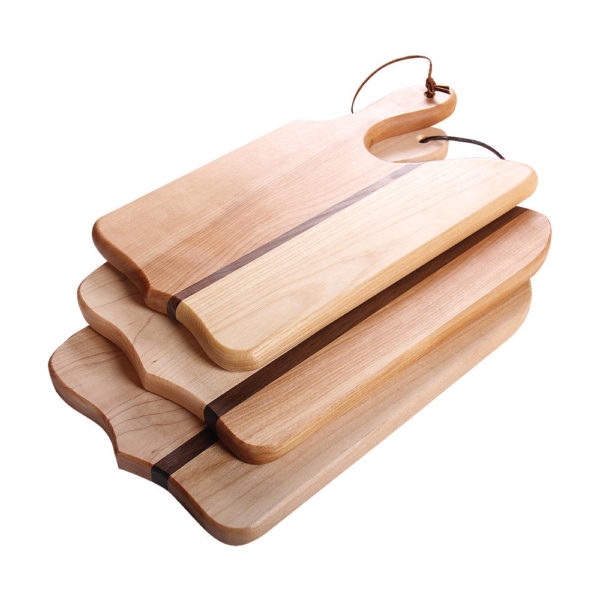"stack of cutting boards point of view design with various woods. size: 12"" long x 8"" wide x 0.75"" thick"