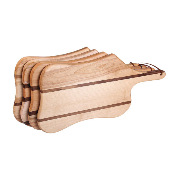 "stack of cutting boards puddle design with various woods. size: 17"" long x 8.25"" wide x 0.75"" thick"