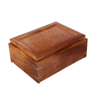 Handcrafted wooden jewelry box with a tray compartment..