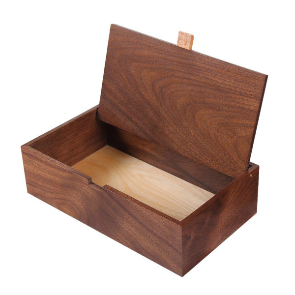 Handcrafted wooden box made of walnut wood.