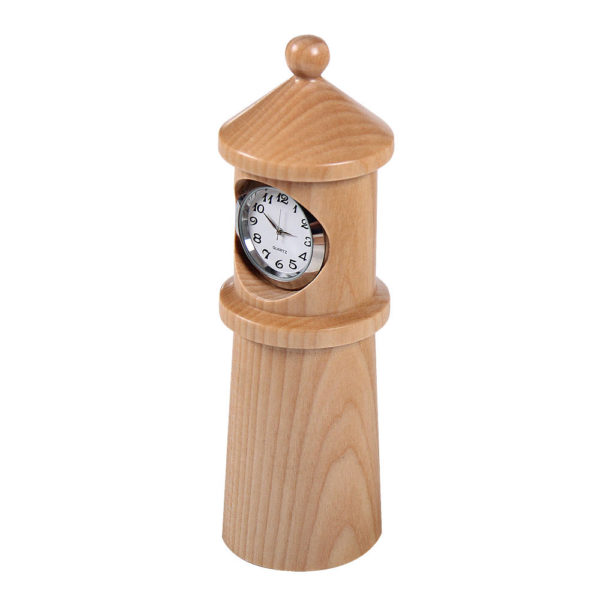 Wooden analog clock, lighthouse design.