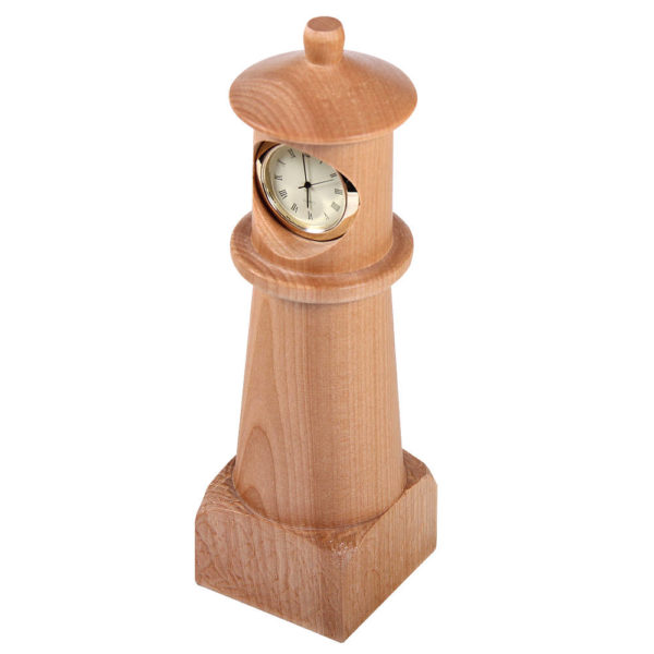 Analog clock housed in a wooden lighthouse with a base.