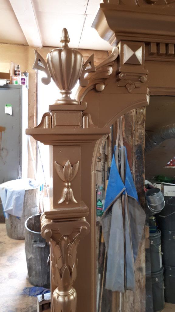 Fire damaged mirror restored.