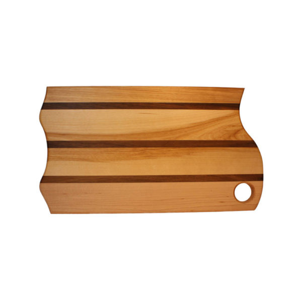"""cutting board mountain board design with various woods. size: 16"""" long x 9"""" wide x 0.75"""" thick"""